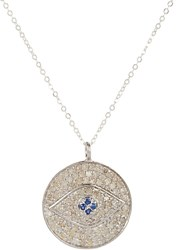 Feathered Soul Diamond And Sapphire Eye Pendant Necklace Colorless