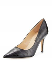 Neiman Marcus Apessi Eel Skin Slip On Pump Black