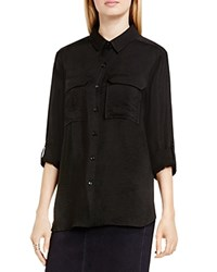 Vince Camuto Two By Camtuo Roll Sleeve Utility Shirt Rich Black