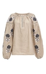 Cynthia Rowley Sand Embroidered Linen Blouse Print