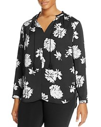 Lucky Brand Plus Fringe Collar Floral Print Peasant Blouse Black Multi