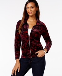Style And Co. Petite Velour Printed Zip Front Track Jacket