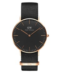 Daniel Wellington Classic Black Cornwall 18K Rose Goldplated Stainless Steel Nato Strap Watch