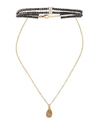 Fragments For Neiman Marcus Semiprecious Choker And Pendant Necklace Gold