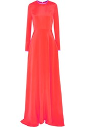 Roksanda Ilincic Elder Silk Satin Maxi Dress Coral