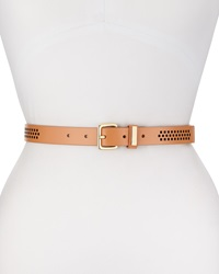 Cole Haan Thin Perforated Leather Belt Natural