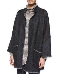 Eskandar Two Tone Long Slope Shoulder Coat Greydark Bison