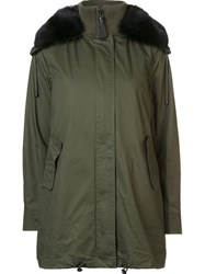 Derek Lam 10 Crosby Fur Trim Parka Green