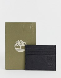 Timberland Leather Card Holder With Emblem In Black