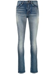 Saint Laurent Stonewashed High Rise Skinny Jeans Blue