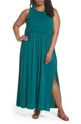 Three Dots Plus Size Women's Gathered Waist Knit Maxi Dress Teal Shore