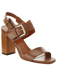 Phase Eight Caz Leather Block Heel Sandals Tan