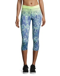 Charlie Jade Python Print Cropped Active Pants Blue Lime