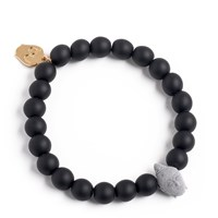 Bu Designs Daiji Onyx And 3D Printed Buddha Bead Bracelet Grey