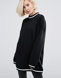 Dr. Denim Dr High Neck Sweatshirt With Contrast Collar Black