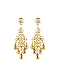 Jose And Maria Barrera Two Tone Golden Chandelier Earrings Women's