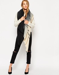 Pieces Ombre Oversized Blanket Scarf Blackcream