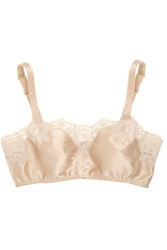 Dolce And Gabbana Lace Trimmed Stretch Silk Satin Soft Cup Bra Nude