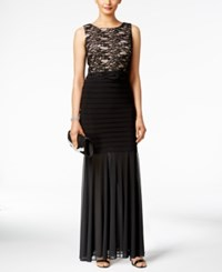 R And M Richards Petite Lace Pleated Mermaid Gown Black Taupe
