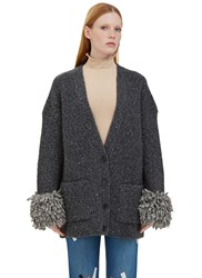 Christopher Kane Oversized Fringed Cuff Knit Cardigan Grey