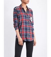 The Kooples Embellished Checked Woven Shirt Red19