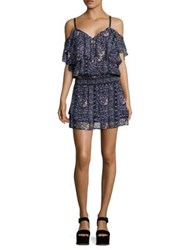 Paige Olympia Cold Shoulder Floral Printed Silk Dress Dark Ink Blue Bouquet