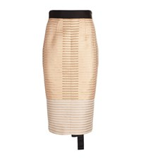 Amanda Wakeley Metallic Jacquard Pencil Skirt Nude