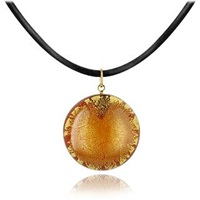 Akuamarina Silver Leaf And Murano Glass Round Pendant Necklace Gold