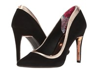 Ted Baker Sayu Black Rose Gold Suede Metallic Leather High Heels