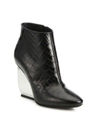 Maison Martin Margiela Trunk Croc Embossed Leather Lucite Wedge Booties Black