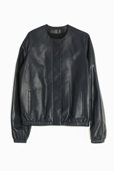 The Row Kelly Leather Jacket Navy