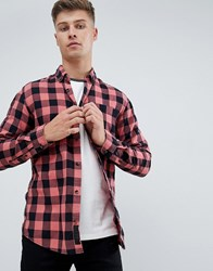 Produkt Gingham Check Shirt In Slim Fit Dusty Cedar Red