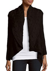Love Token Cable Knit Wool Blend Cardigan Black