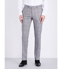 Sandro Slim Fit Wool And Cotton Blend Trousers White Black