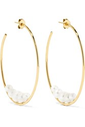 Mizuki 14 Karat Gold Pearl Hoop Earrings One Size Gbp