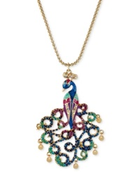 Betsey Johnson Gold Tone Peacock Pendant Necklace
