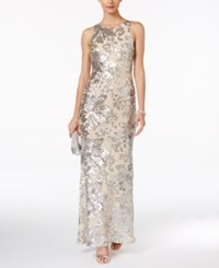 Betsy And Adam Petite Illusion Back Sequin Gown Blush Silver