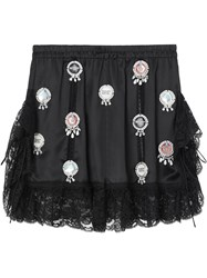 Burberry Bottle Cap Detail Satin And Lace Shorts Black