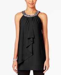 Joseph A Crystal Embellished Ruffle Top Jet Black
