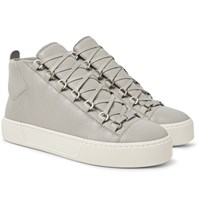Balenciaga Arena Full Grain Leather High Top Sneakers Gray