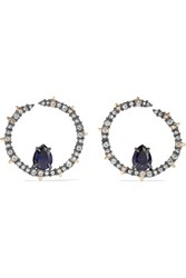 Alexis Bittar Gunmetal And Gold Plated Crystal Earrings One Size