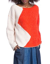 Plenty By Tracy Reese Colorblock Top Persimmon White