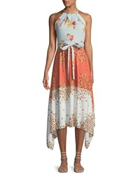 Laundry By Shelli Segal Floral Georgette Handkerchief Midi Dress Multi Pattern