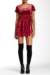 American Apparel Stretch Velvet Babydoll Dress Red