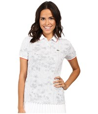 Lacoste Short Sleeve Geometric Printed Technical Polo Shirt White Navy Blue Mango Tree Red Women's Short Sleeve Knit