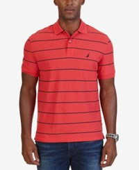 Nautica Men's Classic Fit Striped Performance Polo Rose Coral