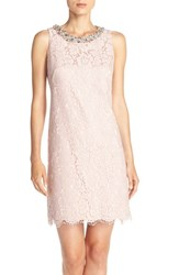 Women's Eliza J Bejeweled Neck Lace Shift Dress