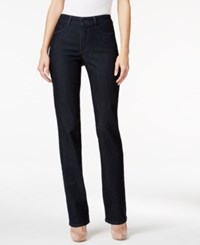 Nydj Dark Enzyme Wash Embroidered Straight Leg Jeans