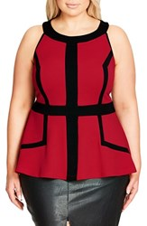 City Chic Plus Size Women's Textured Peplum Top