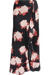 Ganni Wrap Effect Floral Print Satin Maxi Skirt Black